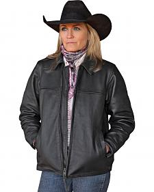 STS Ranchwear Women's Rifleman Black Leather Jacket - Plus - 2XL