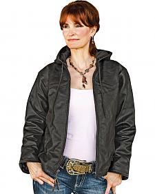 STS Ranchwear Women's Cheney Black Leather Hooded Jacket - Plus - 2XL