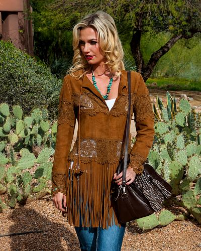 Scully Long Fringe Suede Coat Western & Country L124 #65
