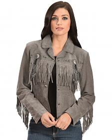 Scully Beaded Fringe Boar Suede Jacket
