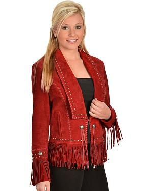 Scully Long Lapel Suede Fringe Jacket