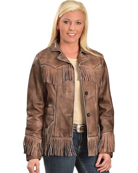 Scully Lamb Leather Fringe Jacket