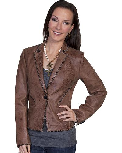 Scully Lamb Leather Whip Stitch Jacket Western & Country L173 #256