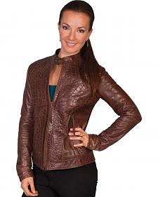 Scully Croc Embossed Leather Jacket