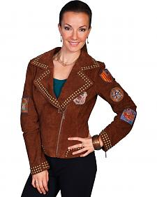 Scully Studded Patch Suede Jacket