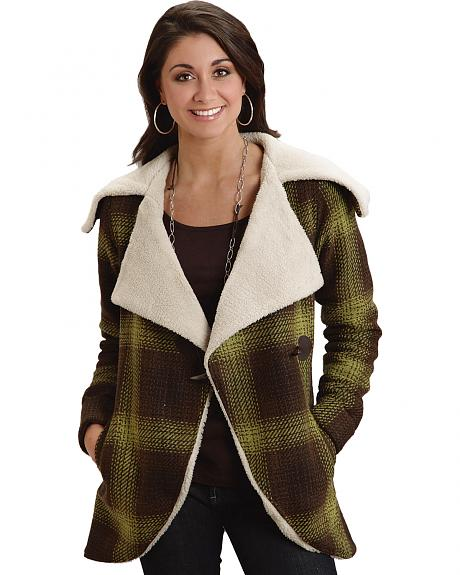 Stetson Women's Plaid Wool Sherpa Collar Coat