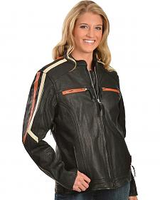 Interstate Leather Ladies Orange and Cream Striped Jacket