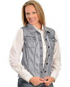Erin London Women's Gray Faux Leather Vest