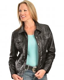 Erin London Women's Black Faux Leather Pleated Jacket