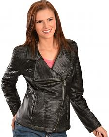 Erin London Women's Black Faux Leather Motorcycle Jacket