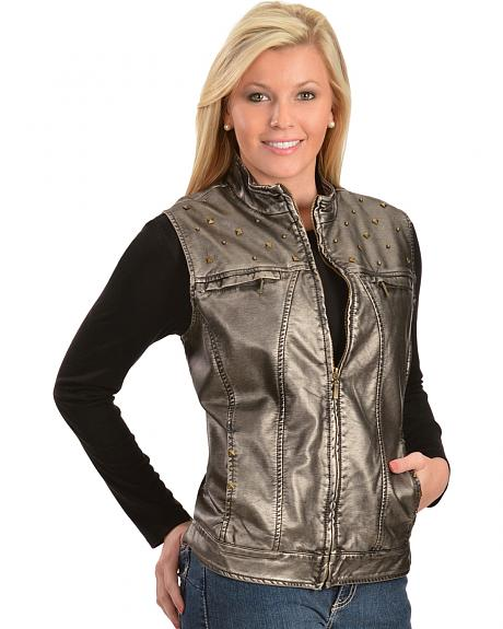 Erin London Women's Platinum Faux Leather Rubbed Vest