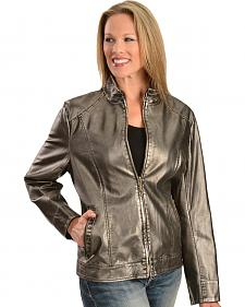 Erin London Women's Platinum Faux Leather Jacket