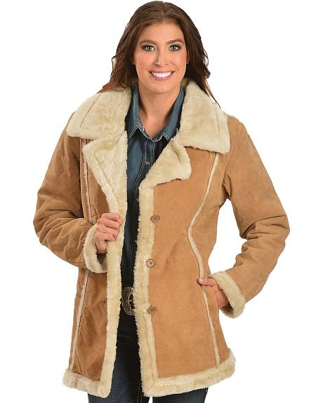 China Leather Women's Faux Fur-Lined Suede Coat