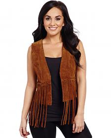 Cripple Creek Hand-Laced Leather Fringe Open-Front Vest