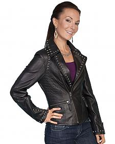 Scully Women's Studded Lamb Leather Motorcycle Jacket