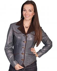 Scully Women's Blue Lamb Leather Jacket