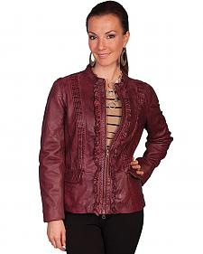 Scully Women's Black Cherry Ruffled Lamb Leather Jacket