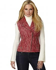 Cripple Creek Women's Distressed Red Studded Leather Moto Vest