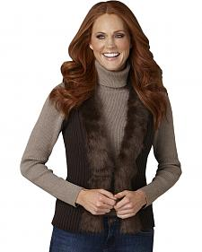 Cripple Creek Faux Fur Collar Brown Sweater Vest