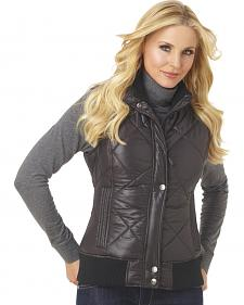 Cripple Creek Women's Water Resistant Quilted Faux Down Vest with Knit Trim