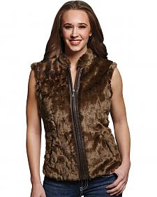 Cripple Creek Women's Faux Fur Brown Sweater Vest