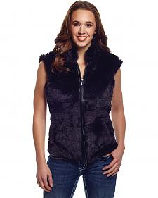 Cripple Creek Women's Faux Fur Black Sweater Vest