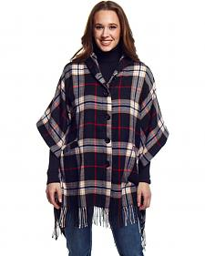 Cripple Creek Women's Button Front Poncho with Hood and Fringe Detail