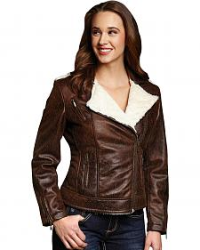 Cripple Creek Distressed Faux Shearling and Leather Jacket