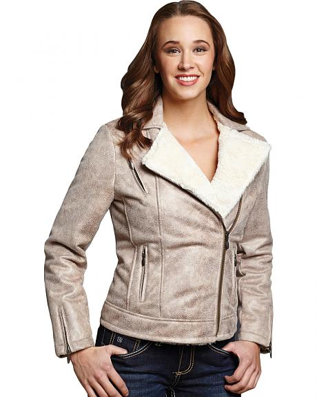 Cripple Creek Snakeskin Faux Shearling and Leather Jacket
