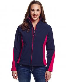 Cripple Creek Women's Blue and Pink Water Resistant Bonded Fleece Jacket