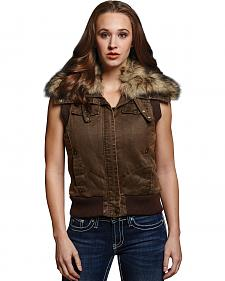 Cripple Creek Women's Enzyme Washed Faux Fur Aviator Vest