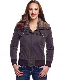 Cripple Creek Women's Zip Front Aviator Jacket with Faux Fur Collar