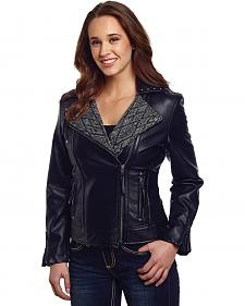 Cripple Creek Women's Black Studded Moto Jacket