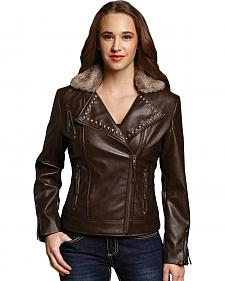 Cripple Creek Women's Brown Studded Zip Front Moto Jacket