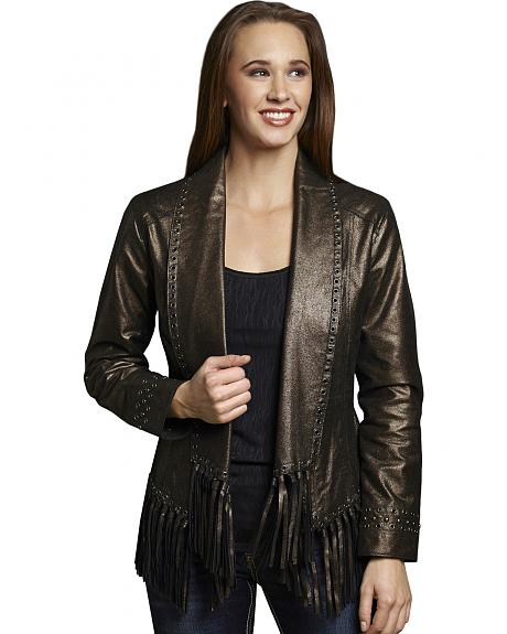 Cripple Creek Women's Metallic Leather Open Front Draped Jacket