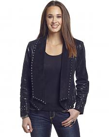 Cripple Creek Women's Studded Metallic Draped Leather Jacket