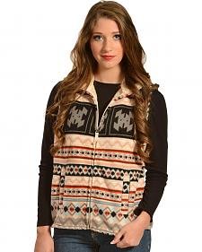 Jane Ashley Aztec-Print Sherpa Fleece Vest