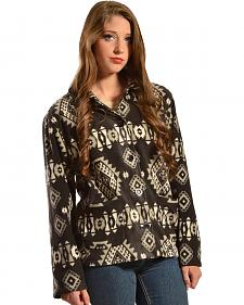 Jane Ashley Aztec Print Button-Up Fleece Jacket