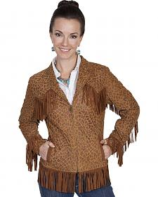 Scully Women's Fringe Leopard Print Lamb Suede Jacket