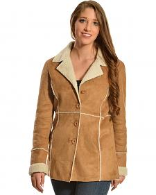 Red Ranch Faux Suede and Sherpa Long Jacket