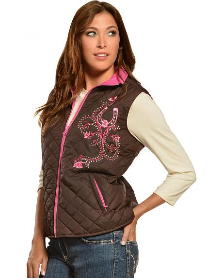 Cowgirl Hardware Embellished Horseshoe Quilted Vest