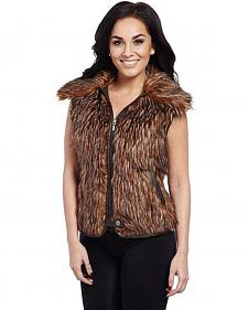 Cripple Creek Women's Brown Faux Fur Vest