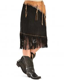 Kobler Leather Women's Leather & Fringe Sioux Suede Skirt