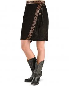 Kobler Leather Women's Tooled Leather & Fringe Sedona Suede Skirt