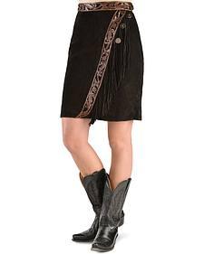 Kobler Leather Women's Tooled Leather & Fringe Sedona Suede Skirt