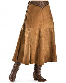 Kobler Leather Women's Choctaw Tooled Leather Lace-Up Suede Skirt