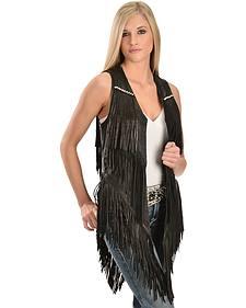 Kobler Leather Women's Yucaipa Fringe & Rhinestone Leather Vest