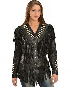 Liberty Wear Women's Fringe & Bone Leather Jacket - Plus
