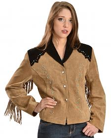 Liberty Wear Women's Suede Fringe Studded Jacket
