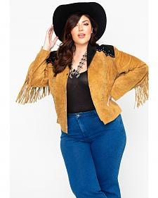 Liberty Wear Women's Suede Fringe Studded Jacket - Plus